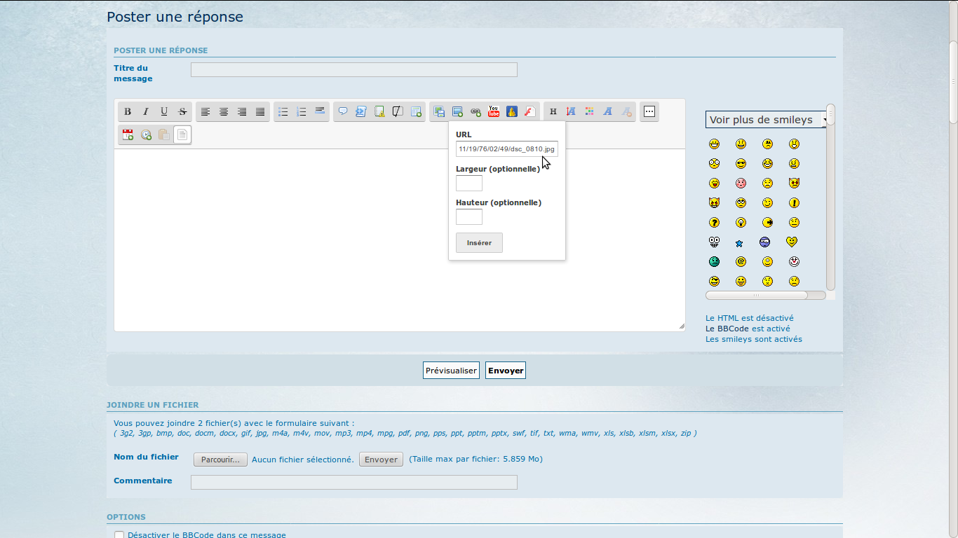 Comment insérer des images dans les messages IIF04