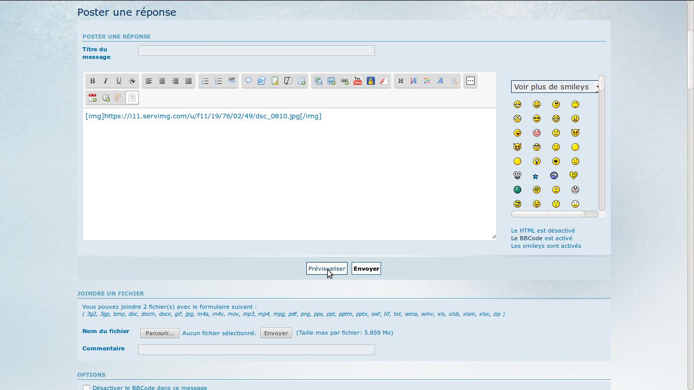 Comment insérer des images dans les messages IIF07